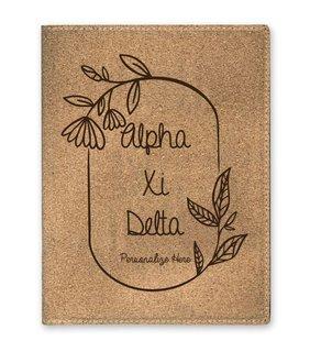 Alpha Xi Delta Cork Portfolio with Notepad