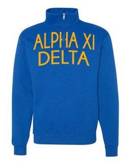 Alpha Xi Delta Over Zipper Quarter Zipper Sweatshirt