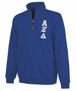Alpha Xi Delta Crosswind Quarter Zip Twill Lettered Sweatshirt