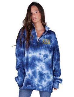 Alpha Xi Delta Crosswind Tie-Dye Quarter Zip Sweatshirt