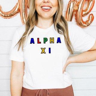 Alpha Xi Delta Custom Colors Embroidered Nickname Tee