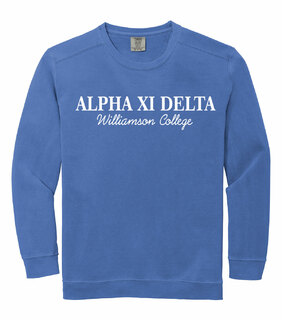 Alpha Xi Delta Script Comfort Colors Greek Crewneck Sweatshirt
