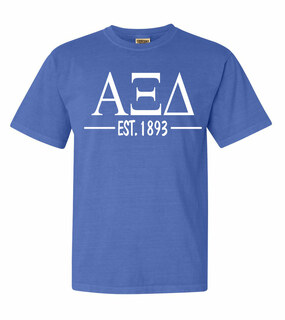 Alpha Xi Delta Custom Greek Lettered Short Sleeve T-Shirt - Comfort Colors