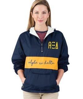 Alpha Xi Delta Custom Stripe Script Pullover Anorak