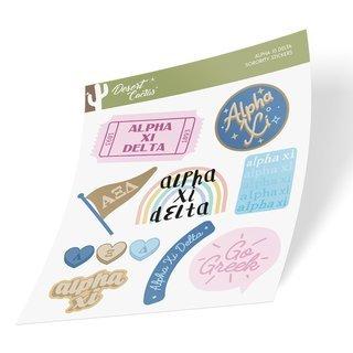 Alpha Xi Delta Cute Sticker Sheet