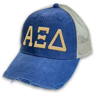 Alpha Xi Delta Distressed Trucker Hat