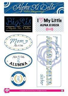Alpha Xi Delta Family Sticker Sheet