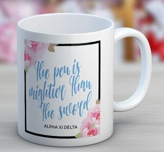 Alpha Xi Delta Floral Motto Coffee Mug
