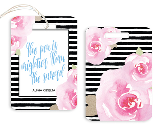 Alpha Xi Delta Floral Motto Luggage Tag