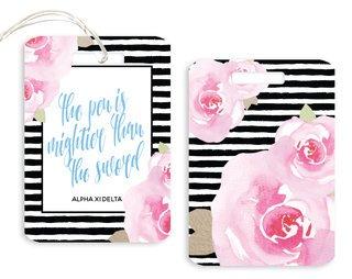 Alpha Xi Delta Floral Motto Luggage Tag
