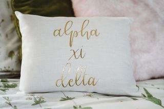 Alpha Xi Delta Gold Imprint Throw Pillow