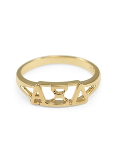 Alpha Xi Delta Gold Plated Letter Ring