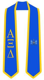DISCOUNT-Alpha Xi Delta Greek 2 Tone Lettered Graduation Sash Stole