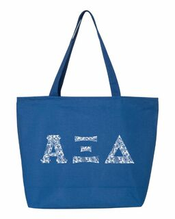 Alpha Xi Delta Greek Letter Zipper Tote