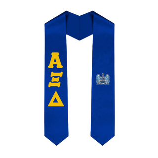 Alpha Xi Delta Greek Lettered Graduation Sash Stole With Crest
