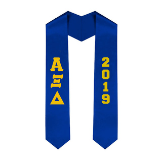 Alpha Xi Delta Greek Lettered Graduation Sash Stole With Year - Best Value