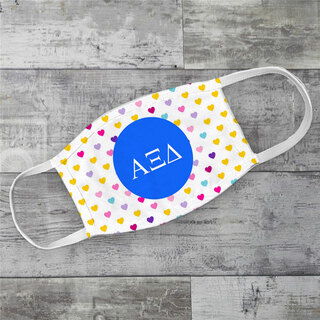 Alpha Xi Delta Hearts Face Mask