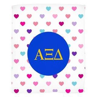 Alpha Xi Delta Hearts Fleece Blanket