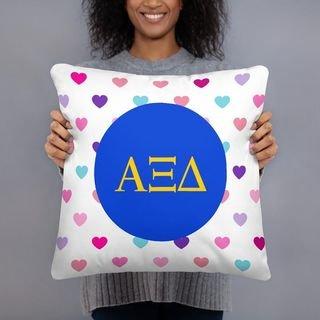 Alpha Xi Delta Hearts Pillow
