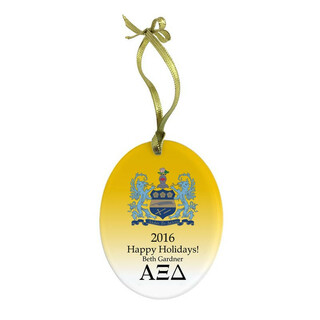 Alpha Xi Delta Holiday Color Crest - Shield Glass Ornament