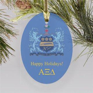 Alpha Xi Delta Holiday Color Crest - Shield Ornament