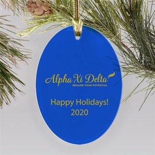 Alpha Xi Delta Holiday Color Mascot Christmas Ornament