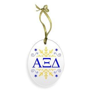 Alpha Xi Delta Holiday Color Snowflake Glass Christmas Ornament