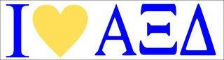 Alpha Xi Delta I Love Bumper Sticker