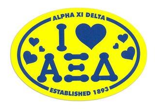 Alpha Xi Delta I Love Sorority Sticker - Oval
