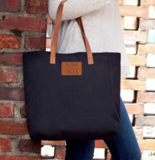 Alpha Xi Delta Leather Patch Black Tote - CLOSEOUT