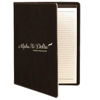 Alpha Xi Delta Leatherette Mascot Portfolio with Notepad
