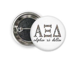 Alpha Xi Delta Leopard Button