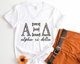 Alpha Xi Delta Leopard V-Neck Tee