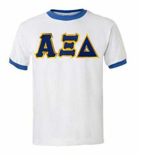 DISCOUNT-Alpha Xi Delta Lettered Ringer Shirt