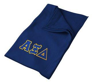 DISCOUNT-Alpha Xi Delta Lettered Twill Sweatshirt Blanket