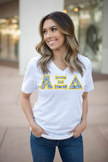DISCOUNT-Alpha Xi Delta Lettered V-Neck Tee