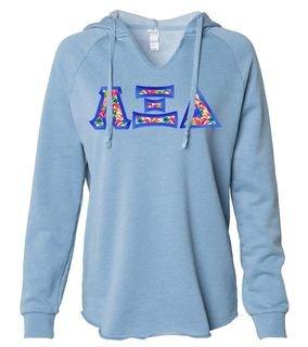 Alpha Xi Delta Lightweight California Wavewash Hooded Pullover Sweatshirt