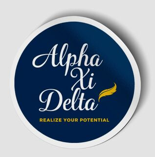 Alpha Xi Delta Logo Round Decal