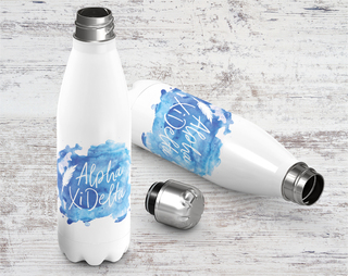 Alpha Xi Delta Logo Stainless Steel Water Bottle