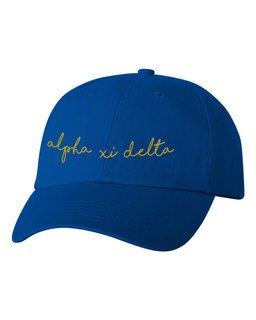 Alpha Xi Delta Smiling Script Greek Hat