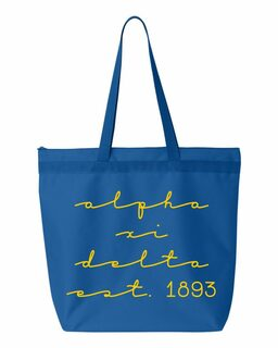 Alpha Xi Delta New Script Established Tote Bag