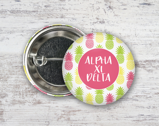 Alpha Xi Delta Pineapples Button