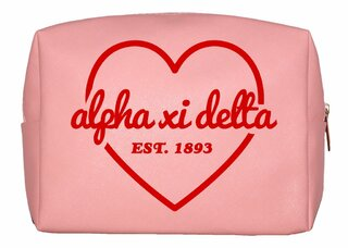 Alpha Xi Delta Pink with Red Heart Makeup Bag