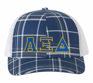 Alpha Xi Delta Plaid Snapback Trucker Hat - CLOSEOUT