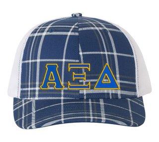 Alpha Xi Delta Plaid Snapback Trucker Hat