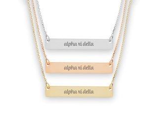 Alpha Xi Delta Script Bar Necklace