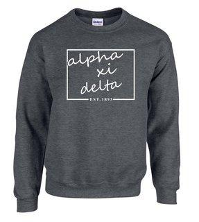 Alpha Xi Delta Script Box Crewneck Sweatshirt