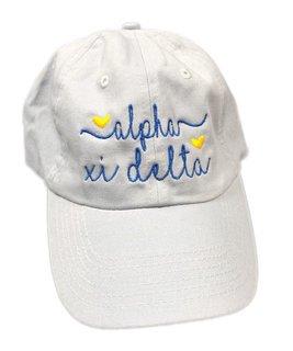 Alpha Xi Delta Script Hearts Ball Cap