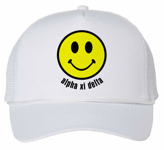 Alpha Xi Delta Smiley Face Trucker Hat