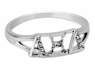 Alpha Xi Delta Sterling Silver Ring set with Lab-Created Diamonds